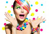 stock photo of nail  - Beauty Woman Portrait with Colorful Makeup - JPG
