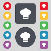 Chef hat sign icon. Cooking symbol. Cooks hat. Set colourful buttons Vector