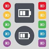 Battery half level sign icon. Low electricity symbol. Set of colour buttons. Vector