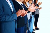 picture of applause  - Group of business partners applauding - JPG