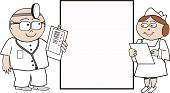 foto of matron  - Cartoon of happy doctor and smiling nurse with large display square - JPG