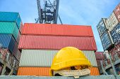 Yellow Safety Helmet On Container Ship