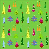 Colorful christmas tree display on a green background.  Eps10 vector format.