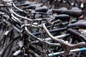 Old Dutch bikes are sold at a flea market Waterlooplein in Amsterdam