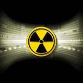 stock photo of radioactive  - Tech background with radioactive symbol - JPG
