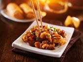 picture of chopsticks  - eating colorful chinese general tso - JPG