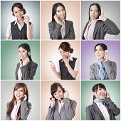 Collection of Asian business woman talk and listen, concept about connect, social media, group, spea
