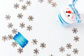Christmas Background With Blue Greeting Card