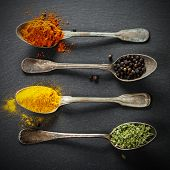 Herbs and spices selection - herbs and spices, old metal spoons and slate background - cooking, heal