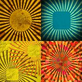 Sunburst Retro Textured Grunge Background Set. Vintage Rays. Vector