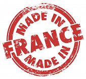 Made in France words in a round red stamp for products produced in the European country