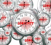 Longevity word on clock faces as time goes by to illustrate lasting and continuous experience, relia