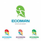 EcoMan - vector logo sign concept illustration. Man figure on leaf. Vector logo template.
