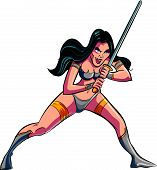 Cartoon warrior vampire woman