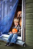 Beautiful blond boy sitting on window sill with hungarian vizsla and hold pumpkin