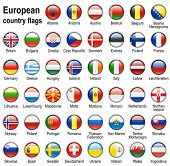 shiny web buttons with european country flags,  illustration set