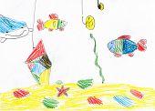 fishing and fish underwater. child drawing