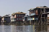 Typical Floating Houses On Inle Lake