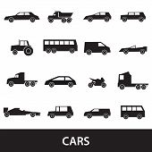 Simple Cars Black Silhouettes Icons Collection Eps10