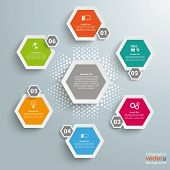 6 Colored Hexagons Background Halftone Cylce