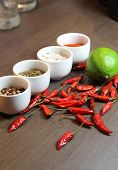Mix Of Spices On The Wooden Background