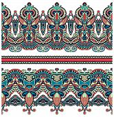 seamless ethnic floral paisley stripe pattern, border set