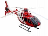 stock photo of helicopter  - Red helicopter on white background - JPG
