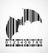 Barcode Bat  Image Vector Illustration