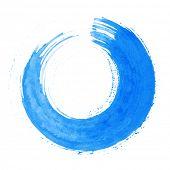 Round blue brush stroke