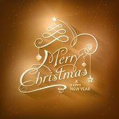 Christmas card in golden brown shades with light effects. Merry  Christmas is depicted in a calligra