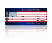 Air Ticket With United States Of America Flag Isolated Over White