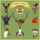 Fashion Hipster Animals set 6