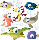 vector cartoon sea animal set: fish, seahorse, dolphin, turtle, seal