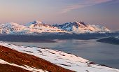 stock photo of tromso  - Mountain at winter in Norway Tromso at sunset - JPG