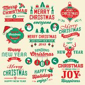 Vector set of Christmas symbols, labels, icons, elements and decoration