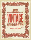 Vintage hand drawn floral decorative border
