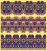 collection of seamless ornamental floral stripes