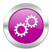 gear violet circle chrome web icon isolated