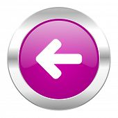 left arrow violet circle chrome web icon isolated