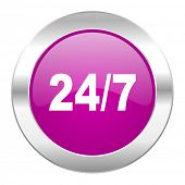 24/7 violet circle chrome web icon isolated