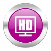 hd display violet circle chrome web icon isolated
