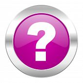 question mark violet circle chrome web icon isolated
