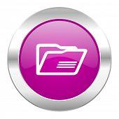 folder violet circle chrome web icon isolated
