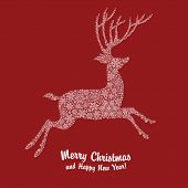 Christmas deer silhouette on red background. Vector