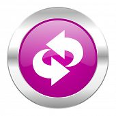 rotation violet circle chrome web icon isolated
