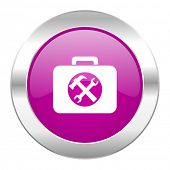 toolkit violet circle chrome web icon isolated
