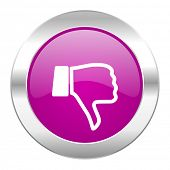 dislike violet circle chrome web icon isolated