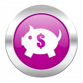 piggy bank violet circle chrome web icon isolated