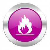 flame violet circle chrome web icon isolated