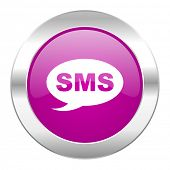 sms violet circle chrome web icon isolated